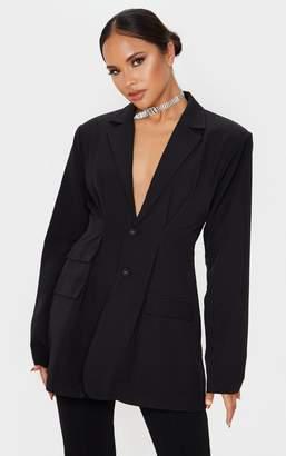 PrettyLittleThing Black Woven Cinched Waist Shoulder Padded Blazer