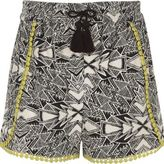 River Island Girls black aztec print crochet trim shorts