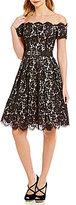 Eliza J Off-the-Shoulder Lace Fit-and-Flare Belted Scallop Hem Dress
