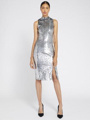 Alice + Olivia Malika Metallic Sequin Midi Dress