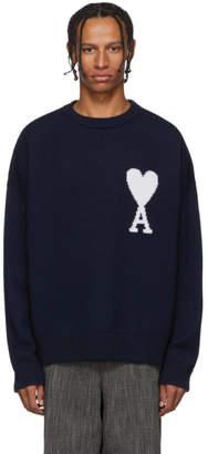 Ami Alexandre Mattiussi Navy Oversize Ami De Coeur Sweater