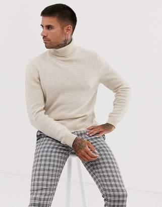 Asos Design DESIGN lambswool roll neck sweater in oatmeal-Beige