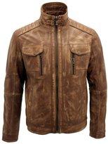 Infinity Men's Vintage Leather Biker Jacket L