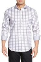 Bugatchi Men's Big & Tall Shaped Fit Check Jacquard Sport Shirt