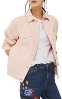 Topshop Petite Women's Ripped Elbow Denim Jacket