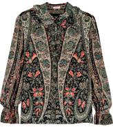 Vilshenko Emma Ruffled Printed Washed-silk Blouse - Black