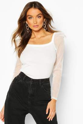 boohoo Rib Mesh Top With Square Neck