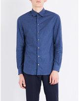 Armani Collezioni Diamond-patterned Regular-fit Cotton Shirt