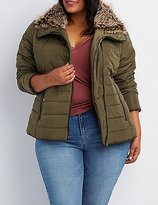 Charlotte Russe Plus Size Faux Fur-Trim Quilted Puffer Jacket