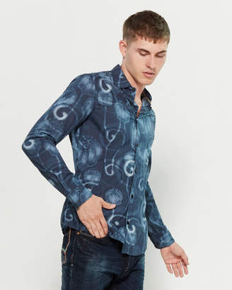 Armani Jeans Long Sleeve Printed Slim Fit Sport Shirt