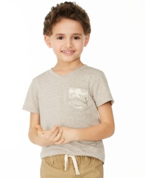 Epic Threads Little Boys Khaki Camo Pocket V-Neck T-Shirt, Created for Macy's