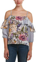 Tracy Reese Cold-Shoulder Silk Top