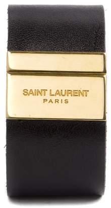 Saint Laurent Rigid Bracelet In Black Leather With Engraved Logo