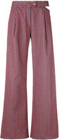 Cycle flared striped trousers - women - Cotton/Spandex/Elastane - 26