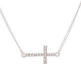 Carole Crystal & Stainless Steel Horizontal Cross Pendant Necklace