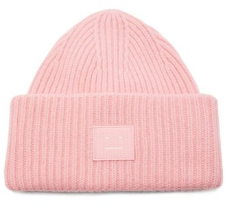 Acne Studios Pansy Rib-knitted Wool Beanie Hat - Womens - Light Pink