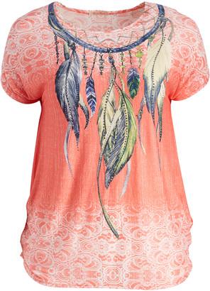 Peek A Boom Peek-a-BOOM Women's Blouses Bright - Pink Feather Embellished Scoop Neck Tee - Plus