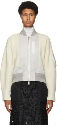 Sacai Off-White Nylon and Wool Bomber Sweater