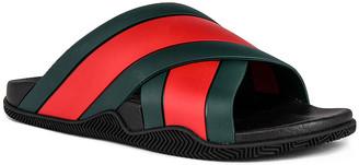 Gucci Agrado Flat Slide in Black & Red & Green | FWRD