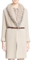 Fabiana Filippi Women's Long Cardigan With Genuine Fox Fur Trim