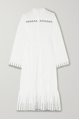 See by Chloe Embroidered Cotton-poplin Midi Dress - White