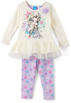 Children's Apparel Network Frozen Elsa Peplum Top & Floral Leggings - Toddler