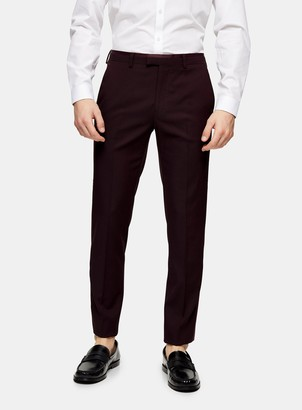 Topman Burgundy Skinny Suit Trousers