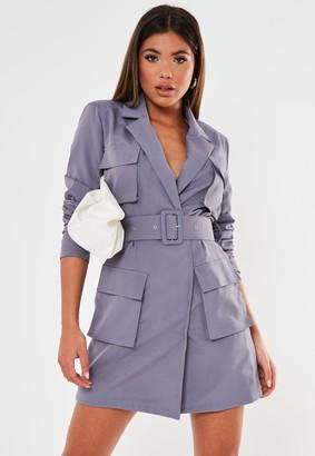 Missguided Lilac Tailored Utility Blazer Dress