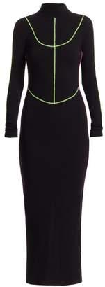 Kirin Neon Trim Stretch-Knit Long Dress