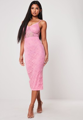Missguided Pink Bust Cup Lace Bodycon Midi Dress