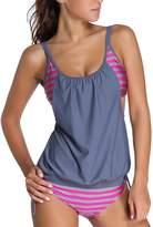 Papaya Wear Womens Stripes Lined Double Up Tankini Two Piece Swimwear Set L