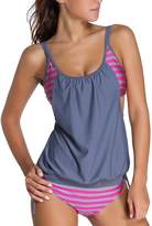 Papaya Wear Womens Stripes Lined Double Up Tankini Two Piece Swimwear Set XL
