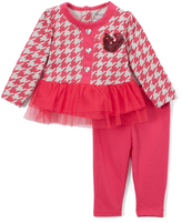 Buster Brown Fuchsia Purple Tulle-Trim Ruffle Tee & Leggings - Infant