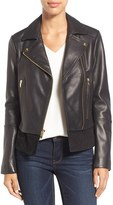 Via Spiga Petite Women's Mixed Media Leather Moto Jacket
