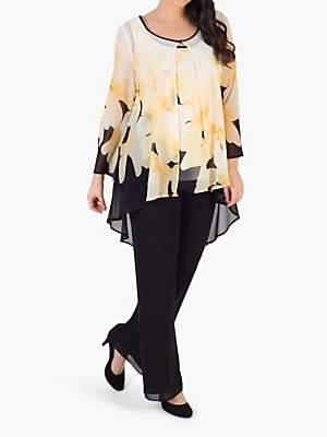 chesca Semi-Sheer Floral Print Chiffon Jacket, Black/Yellow/Ivory