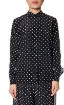 Stella McCartney Polka-dot Striped Motif Silk Shirt