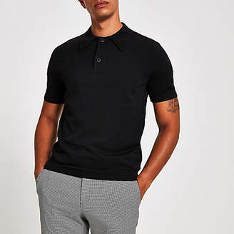 River Island Black knitted muscle fit polo shirt
