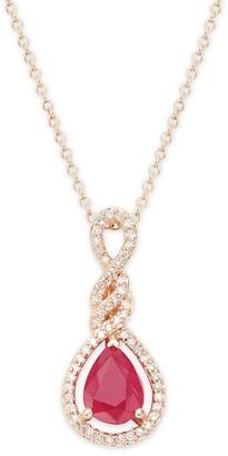 Effy 14K Rose Gold, Ruby Diamond Pendant Necklace