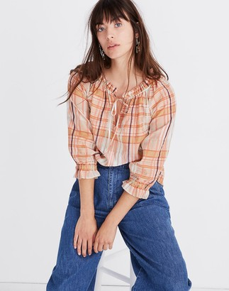 Madewell Plaid Tie-Neck Ruffle-Sleeve Top