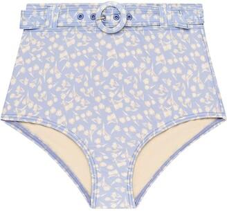Peony Swimwear Floral-Print Belted Bikini Bottoms