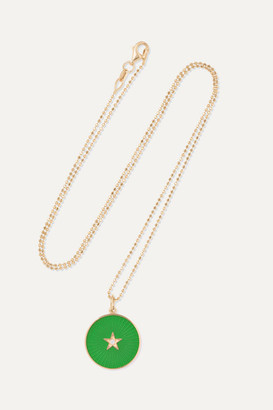 Andrea Fohrman New/ Full Moon 18-karat Gold, Enamel And Diamond Necklace - one size