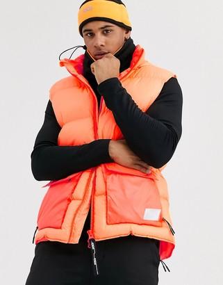 ASOS 4505 padded ski vest in neon orange