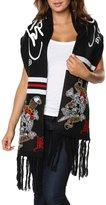Ed Hardy Skull/Sword Rectangle Knit Scarf - Black