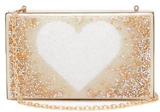 Germanier - Degrade-crystal Heart-print Clutch Bag - Gold Multi