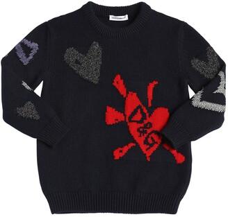 Dolce & Gabbana Hearts Intarsia Wool Blend Sweater
