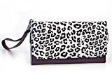 Leopard Phone Wristlet Wallet Case With Card Holder for Karbonn Alfa A104