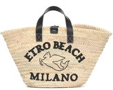 Etro Logo raffia tote