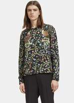 Gucci Men's Botanic Bird Print Round Neck Sweater In Black