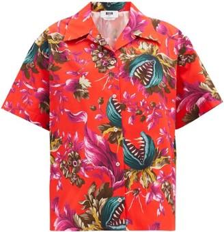 MSGM Carnivorous Plant-print Cotton-poplin Shirt - Red Multi