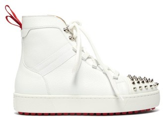 Christian Louboutin Smartic Spike High-top Leather Trainers - White